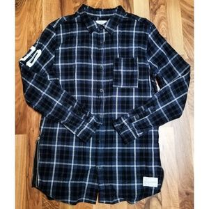On the Byas Extended Length Flannel Shirt. AMAZING